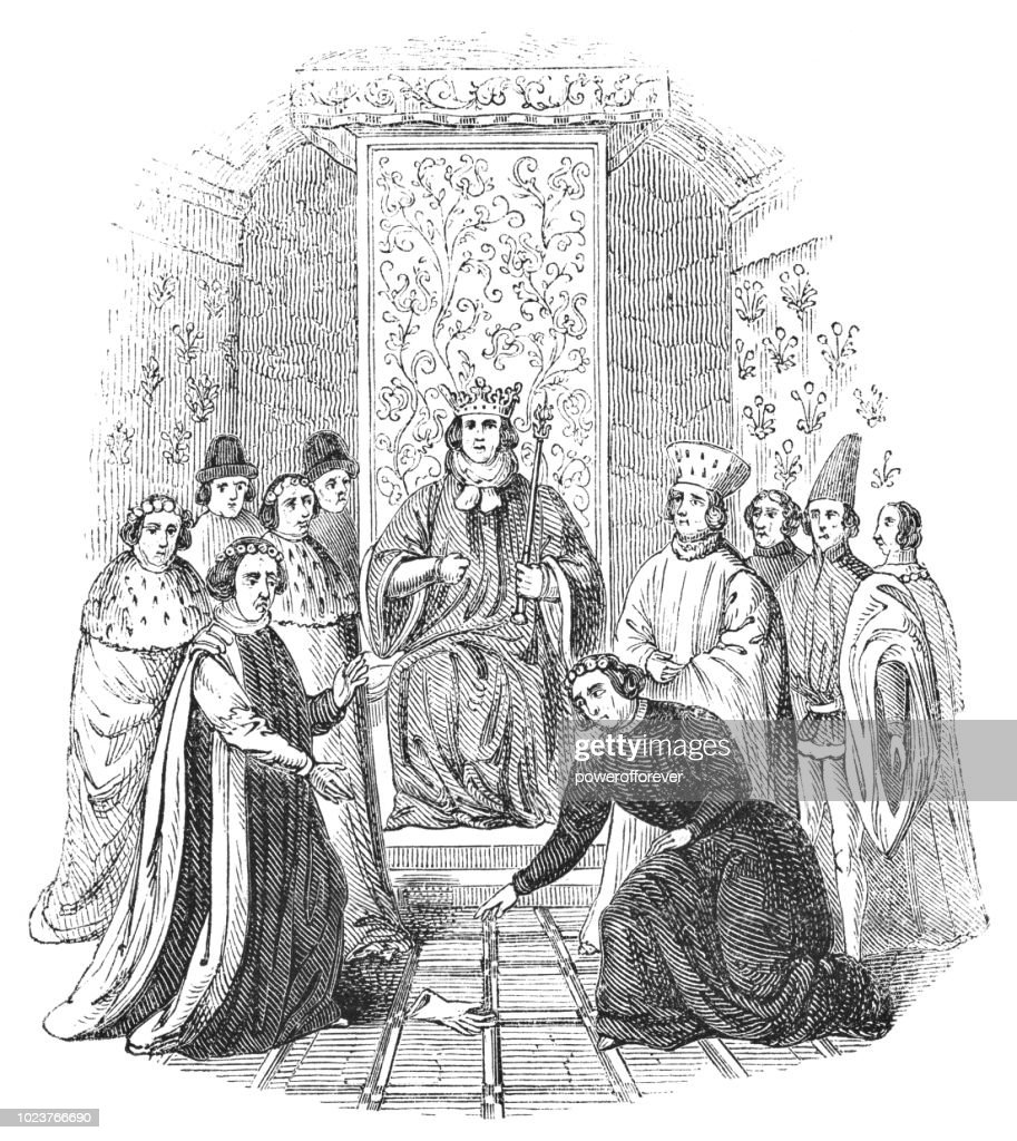 The Throwing of Gages during the Trial of Richard II - Works of William Shakespeare : Stock Illustration