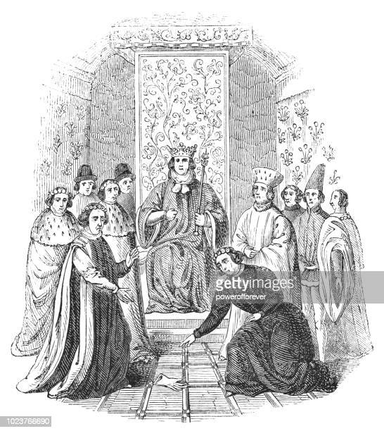 the throwing of gages during the trial of richard ii - works of william shakespeare - king royal person stock illustrations
