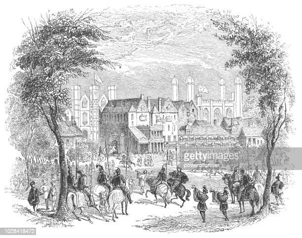 the tiltyard at the palace of whitehall in westminster, england - whitehall london stock illustrations