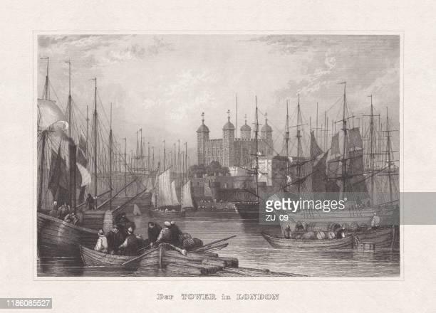 1857年に出版されたロンドン塔、イングランド、鉄鋼彫刻 - セントラル・ロンドン点のイラスト素材/クリップアート素材/マンガ素材/アイコン素材