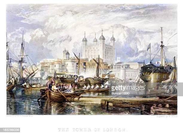 tower of london - テムズ川点のイラスト素材/クリップアート素材/マンガ素材/アイコン素材