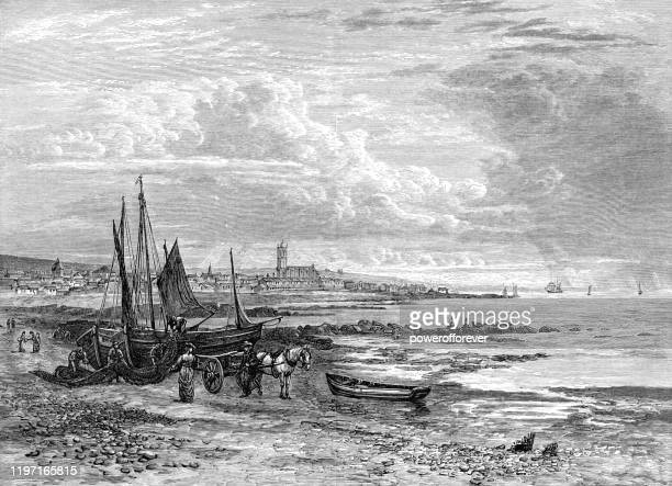 the town of penzance in cornwall, england - 19th century - etching stock illustrations