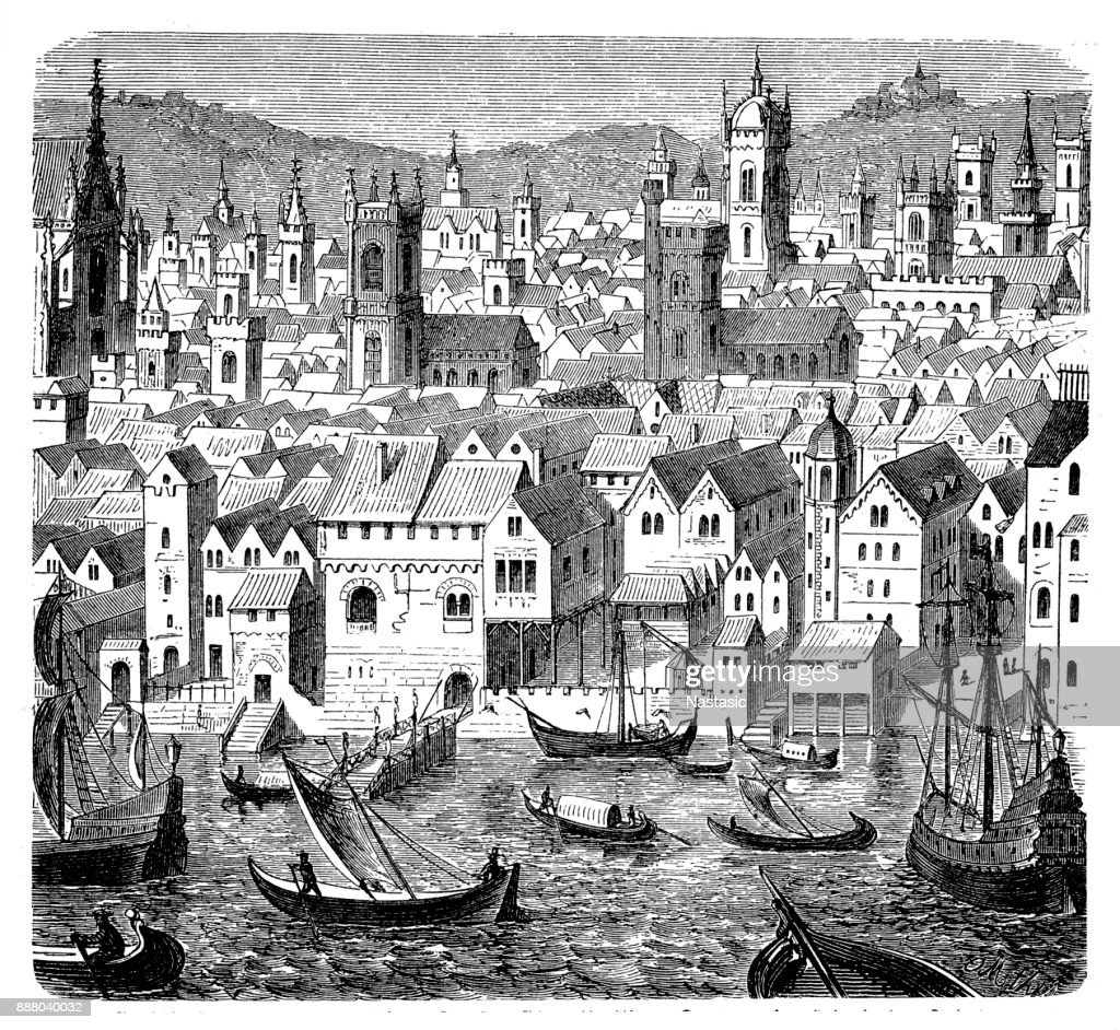 The Trading Depot of the Hanseatic Merchants - An Economic Alliance of Trading Cities in the 16th Century, The Steelyard, London England : stock illustration
