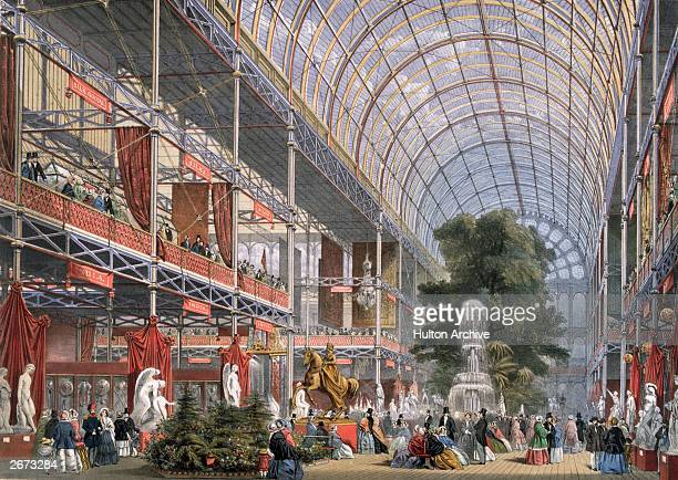 The Transept at the Great Exhibition in Crystal Palace, the glass and iron building designed by Joseph Paxton, at Hyde Park, London. Original...