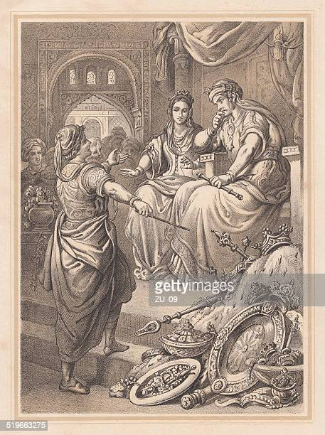 the treasures of rhampsinit, ancient legend, lithograph, published in 1865 - herodotus stock illustrations