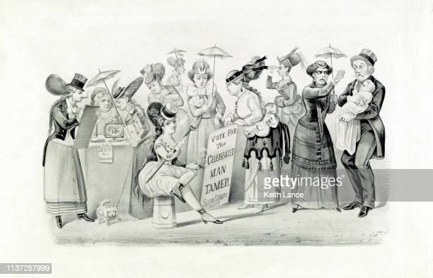 the triumph of women's rights - suffragist stock illustrations