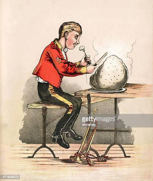 ilustraciones, imágenes clip art, dibujos animados e iconos de stock de el trompetista, comer un plum duff-victorian imprimir - al vapor