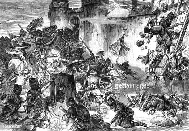 the turks besiege vienna - siege stock illustrations