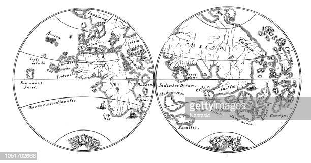 The two earth hemispheres after the Behaim's globe