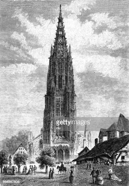 the ulm cathedral, highest church on earth - ulm stock illustrations