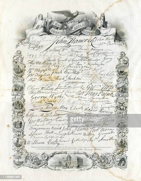 the united states declaration of independence with all signatures 1776 - us president stock illustrations