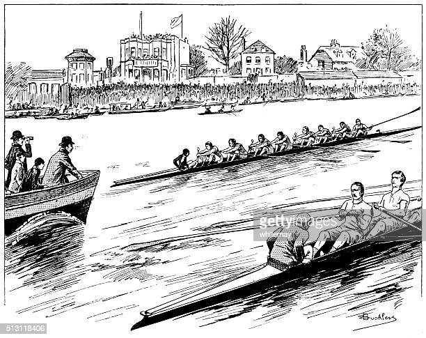 the university boat race on the river thames - sports team stock illustrations, clip art, cartoons, & icons