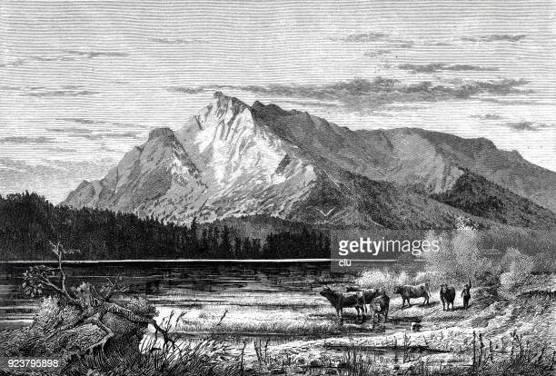 the untersberg, seen from salzburg - mountain peak stock illustrations, clip art, cartoons, & icons
