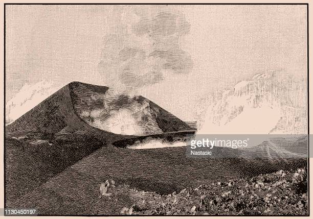 the upper crater of mount etna - volcanic crater stock illustrations, clip art, cartoons, & icons
