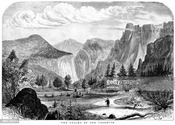ilustraciones, imágenes clip art, dibujos animados e iconos de stock de el valle de yosemite, california - valle