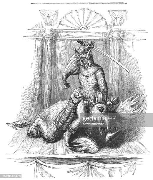 """ilustraciones, imágenes clip art, dibujos animados e iconos de stock de """"el vicio"""" como descrito por el obispo harsnet en declaración de imposturas papista - disfraz de diablo"""