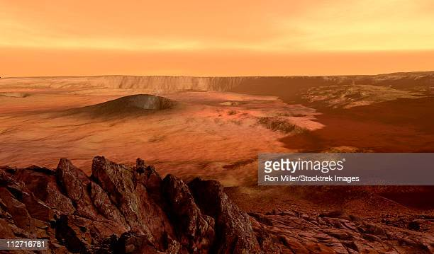 the view from the rim of the caldera of olympus mons on mars, the largest volcano in the solar system. - volcanic crater stock illustrations, clip art, cartoons, & icons