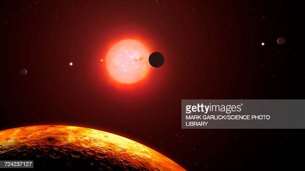 the view from trappist-1f - extrasolar planet stock illustrations