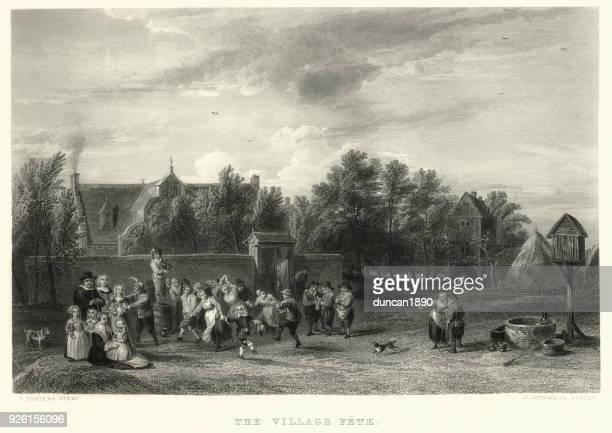 the village fete, david teniers - gala stock illustrations