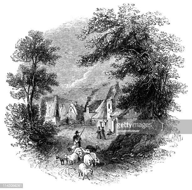 The Village of Barton-on-the-Heath in Warwickshire, England - 16th Century