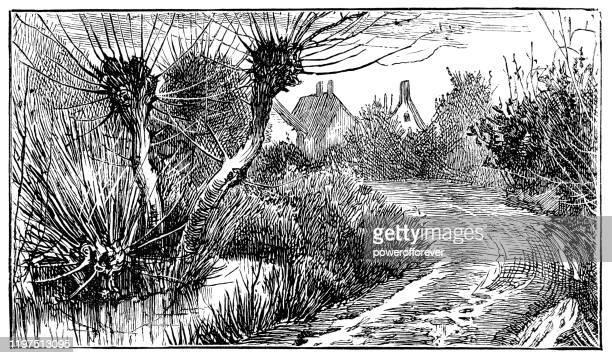 サマセットのポーロックの村, イングランド - 19世紀 - ポーロック点のイラスト素材/クリップアート素材/マンガ素材/アイコン素材