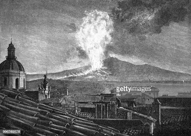 the volcano etna at the 1892 eruption - volcano stock illustrations, clip art, cartoons, & icons