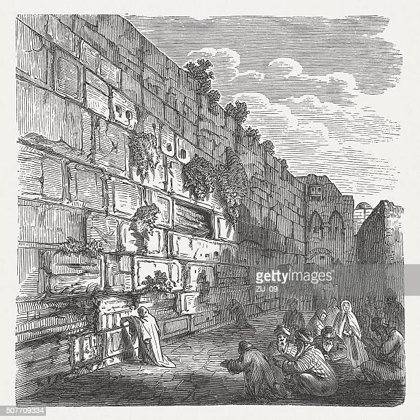 the wailing wall in jerusalem, wood engraving, published in 1882 - wailing wall stock illustrations, clip art, cartoons, & icons