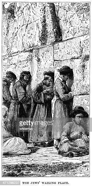 the wailing wall, jerusalem - wailing wall stock illustrations, clip art, cartoons, & icons