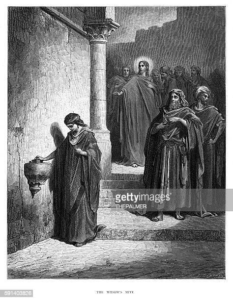 ilustrações, clipart, desenhos animados e ícones de the widow's mite engraving 1870 - bíblia