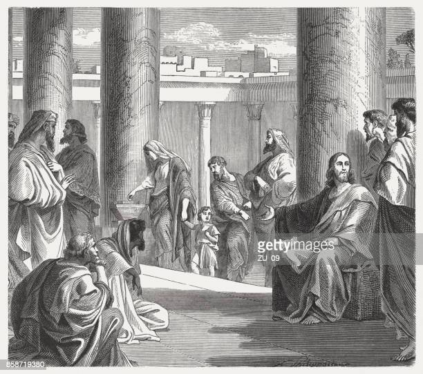 The Widow's Offering (Luke 21, 1-4), wood engraving, published 1886
