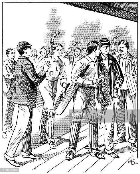 The winning team at a Victorian cricket match