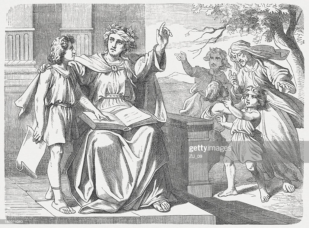 The Wisdom calls and warns, Proverbs of Solomon, published 1877 : stock illustration