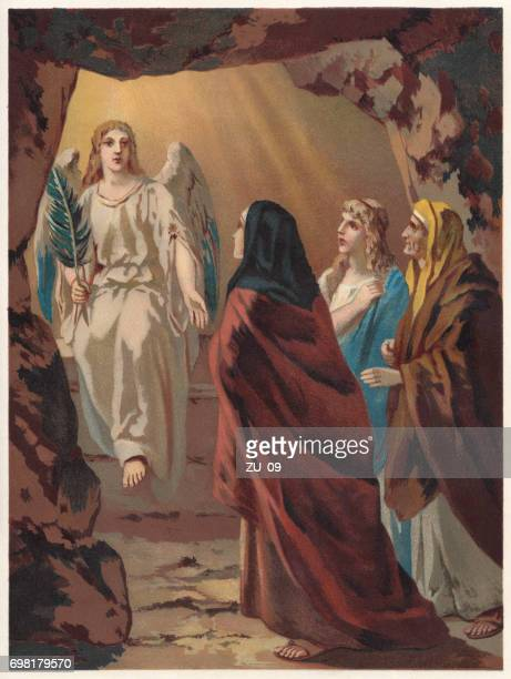 the women at the tomb of christ, chromolithograph, published 1886 - cenotaph stock illustrations