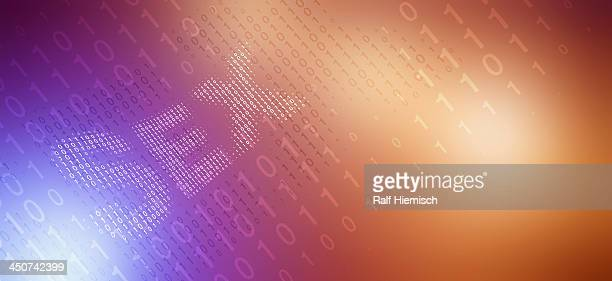 the word sex, made of binary numbers, reflected against color gradient background - colour gradient stock illustrations