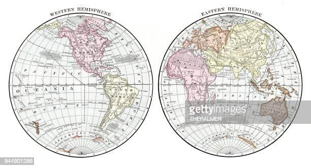 illustrations, cliparts, dessins animés et icônes de le monde en 1889 des hémisphères - hémisphère