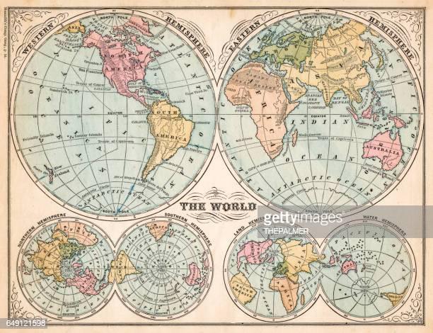 The world in hemispheres map 1875