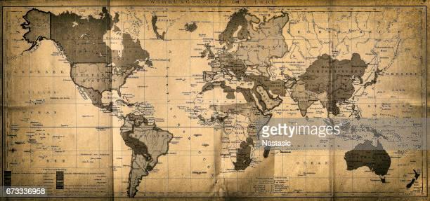ilustraciones, imágenes clip art, dibujos animados e iconos de stock de el mapa del mundo - viejo