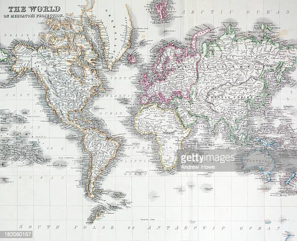 the world on mercators projection - 19th century style stock illustrations
