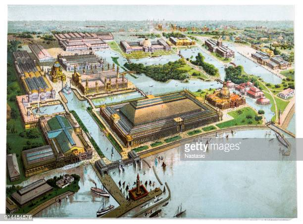 the world's columbian exposition , world's fair: columbian exposition, also known as the chicago world's fair and chicago columbian exposition - industrial revolution stock illustrations