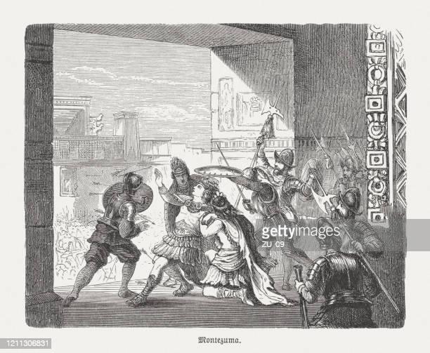 the wounding of the moctezuma (1520), wood engraving, published 1888 - spanish culture stock illustrations