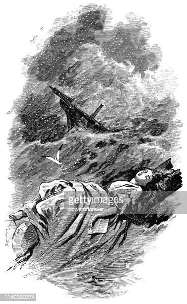 the wreck of the hesperus - works of henry wadsworth longfellow - dead girl stock illustrations