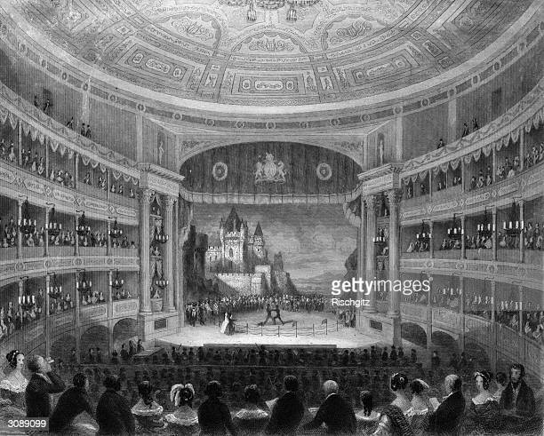 The wrestling scene in a performance of Shakespeare's 'As You Like It' at Drury Lane Theatre. Original Artwork: Engraving by T H Ellis after T H...