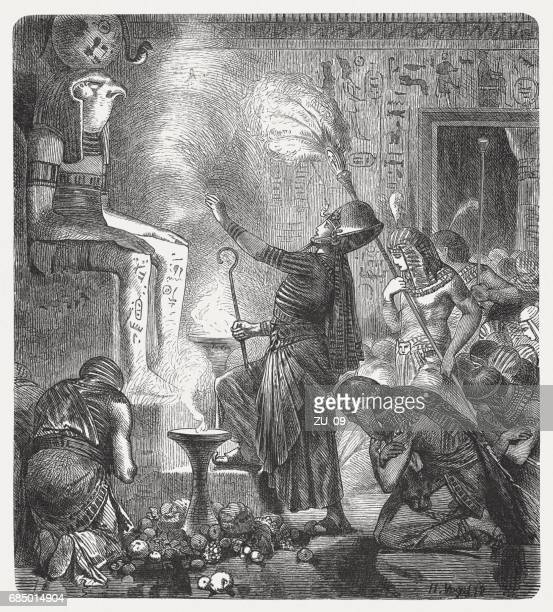 the young pharaoh in the temple, wood engraving, published 1880 - north african ethnicity stock illustrations, clip art, cartoons, & icons