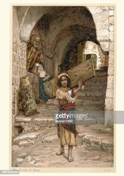 the youth of jesus - carpenter stock illustrations