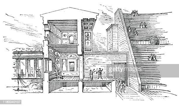 theater in velia, ancient rome - epidaurus stock illustrations