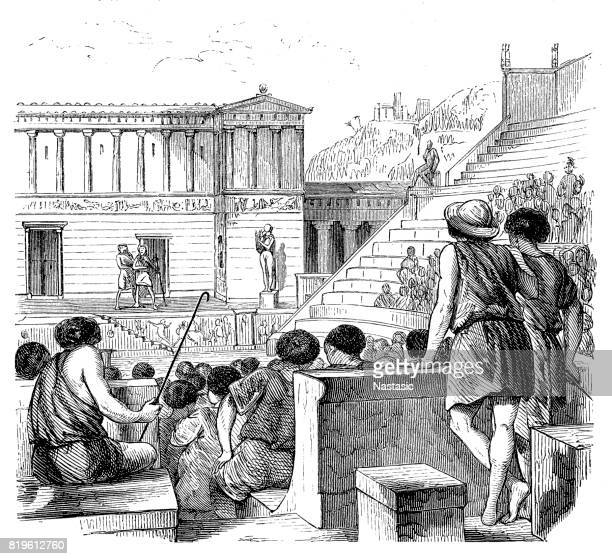theater performance in ancient greece - ancient greece stock illustrations