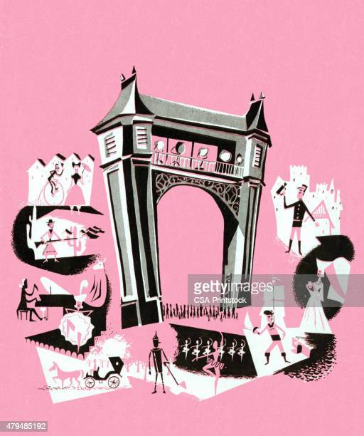 theater stage - actor stock illustrations