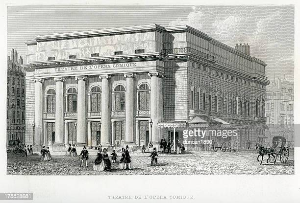 theatre de l'opera comique, paris - classical theater stock illustrations, clip art, cartoons, & icons