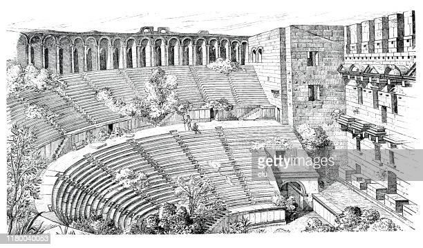 theatres in aspendos, turkey - epidaurus stock illustrations