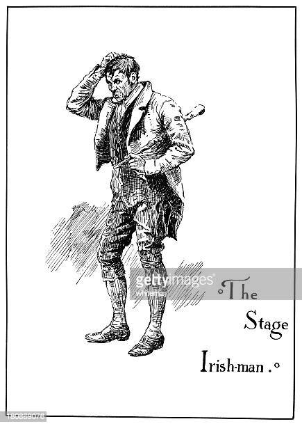 theatrical characters - the stage irishman - actor stock illustrations, clip art, cartoons, & icons